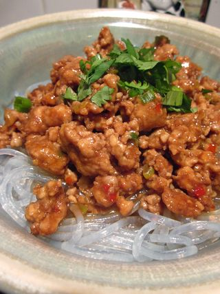 Meat Sauce Over Rice Stick Noodles