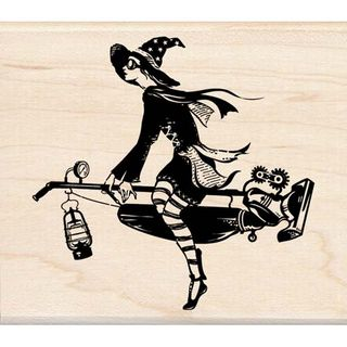 Steampunk witch stamp